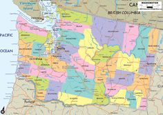 Map of State of Washington, with outline of the state cities, towns and counties.