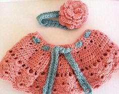 Very POPULAR crochet newborn to 18 months baby girls skirt and headband. Easter Rose bisque and sea foam. Photo prop.