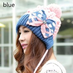 Winter knit hats with bow beanie hats with ball on top for women