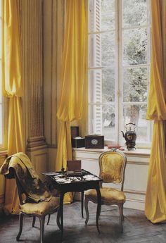 Blue instead of yellow, please. Ted & Lillian Williams's restored French Folly, Chateau de Morsan, Normandy. Interior Decorating, Interior Design, Cottage Decorating, Decorating Ideas, French Chateau, Classic Interior, French Cottage, Yellow Curtains, French Decor