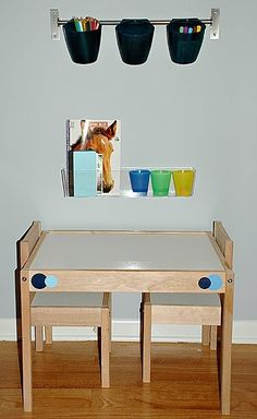 Much simplier paper roll rig.  From the Fence Post: IKEA Hack: Kid's Art Center