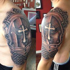 Norwalk Tattoo Studio Beautiful Armor Sleeve Coverup Tattoo by Joshua nordstrom In Kingsford Armor Sleeve Tattoo, Armour Tattoo, Armor Of God Tattoo, Shoulder Armor Tattoo, Norse Tattoo, Samurai Tattoo, Schulterpanzer Tattoo, Tattoos Masculinas, Body Art Tattoos