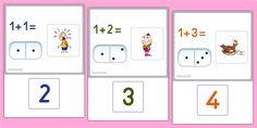 Maths Nombres et Calculs Cartes d'addition avec les dominos - Apprendre les additions jusqu'à 12. Compléter chaque opération par la réponse qui convient.