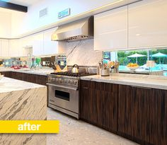 Kitchen Before & After: A Palm Springs Kitchen Goes Luxury - love the use of windows as a backsplash