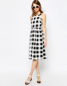Image 4 ofASOS Structured Midi Dress in Gingham Print