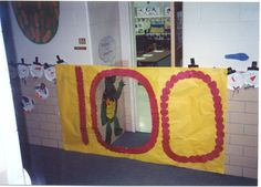 100th Day Door - I've done this most years but with the 100 vertically so you have to crawl or squat through the door. The kids love it and you get a great leg workout.