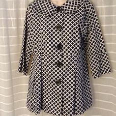 Black and white jacket So cute! Polished cotton jacket, fully lined! Very figure flattering. Worn once. Perfect condition. Length from shoulder is 30 inches. Keren Hart Jackets & Coats