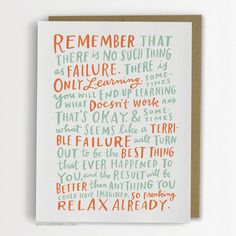 Thoughts On Failure Encouragement Card / Inspirational Card No Such Thing As Failure Emily McDowell Card / No. New Item from Emily Mcdowell Studio Empathy Cards, Feeling Like A Failure, Secret Admirer, Here's The Thing, Learning Time, Wise Words, Birthday Cards, Birthday Messages, Birthday Gifts
