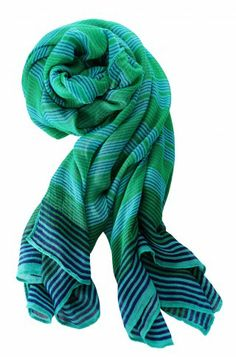 Palm Springs Scarf--Turquoise Stripe. Can function as a scarf and as a wrap! Perfect for warm summer day and cool evenings. www.stelladot.com/sarahsproat