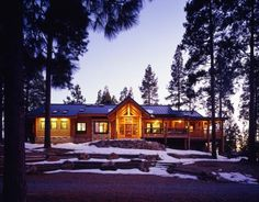 California log home in the winter