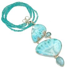 $382.15 Huge Angel Voice!! Blue Larimar Sterling Silver necklace at www.SilverRushStyle.com #necklace #handmade #jewelry #silver #larimar