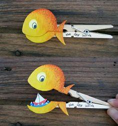 Wäscheklammerwie Fische gestalten