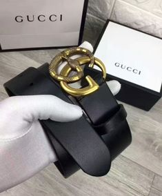 24d0f5c8437b Replica Gucci Leather belt with Double G buckle with snake Black #3349 2