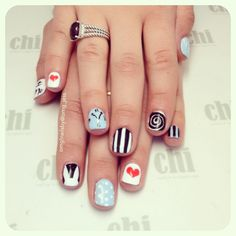 Alice in Wonderland nail art :) http://instagram.com/omg_jess
