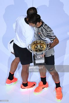 Rafael Nadal of Spain aknowledges Roger Federer of Switzerland after Federer won their Men's Final match on day 14 of the 2017 Australian Open at Melbourne Park on January 29, 2017 in Melbourne, Australia.  (Photo by Quinn Rooney/Getty Images)