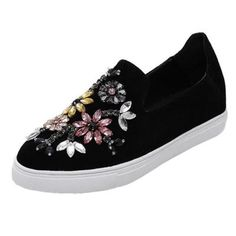 #Oasap - #oasap Round Toe Floral Rhinestone Loafer Shoes - AdoreWe.com