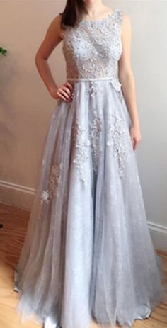 Grey Sleeveless Appliques A-line Tulle Prom Dresses 2017