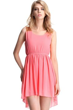 ROMWE | Pink Asymmetrical Hem Paillette Dress, The Latest Street Fashion