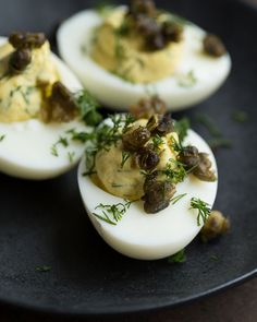 Angelic Eggs a.k.a. Not-So-Devilish Deviled Eggs with Deep Fried Capers - Day 21: Sweet Paul Holiday Countdown presented by Mrs. Meyer's Clean Day #SweetPaul @mrsmeyersclean #HomeGrownInspiration #DeviledEggs