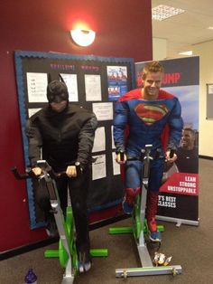 Our leisure staff Batman and Superman are working hard cycling stage 7 of the Tour de France for Velindre Cancer Centre Fundraising, Shooting Stars and The AHOY Centre! Well done!