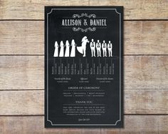 Chalkboard Style Wedding Program Weddingprogram Silhouetteweddingparty Rusticwedding Printable Black White