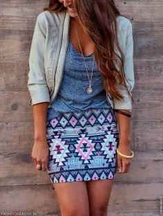 Cool printed mini skirt with lovely jacket