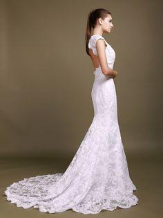 Scalloped Lace Cut Out Mermaid Wedding Dress - My wedding ideas