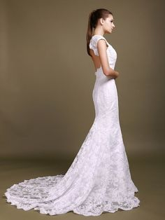 Scalloped Lace Cut Out Mermaid Wedding Dress - My wedding ideas
