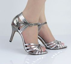 Ladies Silver Leather Ballroom Latin Salsa Dance Shoes SALSA Dancing Shoes - 25.99+20.00