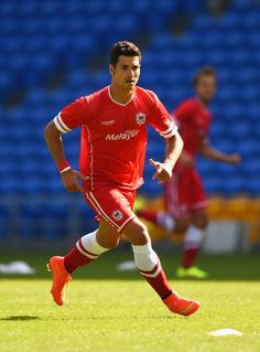 Javi Guerra of Cardiff in action during the friendly match between...