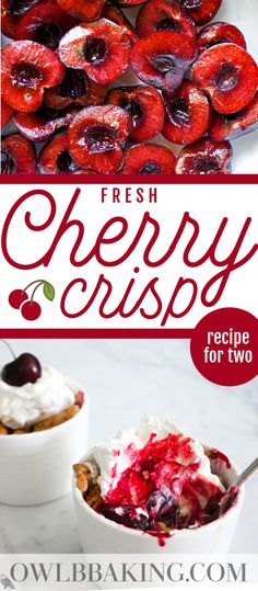 This easy, cherry crisp recipe is packed with fresh cherries and topped with a sweet oatmeal crumble. This recipe makes just enough for two, hearty servings and is quick to pull together for a date night dessert! #cherrycrisp #cherrycrumble #freshcherries #dessertsfortwo #smallbatchrecipes Best Dessert Recipes, Desert Recipes, Cheesecake Recipes, Delicious Desserts, Vegan Recipes, Quick Easy Desserts, Small Desserts, Fruit Crisp Recipe, Cherry Crumble