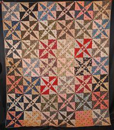 "ANTIQUE QUILT c1860's TIED CROSSED CANOES PATCHWORK COTTON 85"" x 71"" | eBay"