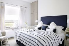 Love the navy and white plus the super puffy looking bed. Just not the classically furni..