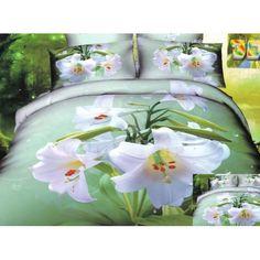 Zelená bavlnená posteľná súprava obliečok s motívom bielych ľalií