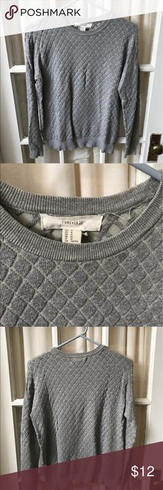 Forever 21 quilted sweater Forever 21 quilted grey sweater. Size medium. Worn a few times. Forever 21 Sweaters Crew & Scoop Necks