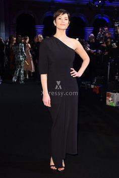 Gemma Arterton Elegant Asymmetrical One Sleeve Black Evening Dress British Film 2016