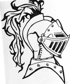 """Armored Knight Tattoo Design"" Ink Drawing by Eric Lamont Norris"