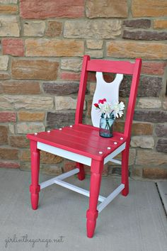 Use this idea for the bedroom chair. Berry Blush Chair Makeover by Girl in the Garage
