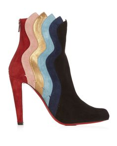 e468b525893 Christian louboutin Wavy 100mm Panelled Suede Ankle Boots in Multicolor  (MULTI)