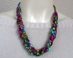 Crocheted Ribbon Necklace: Bright Tropical Ladder Yarn Necklace - by MarieAntoinknit for 9ElizabethStreet
