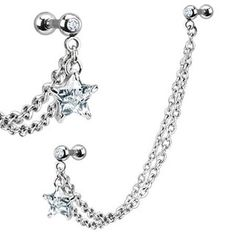 Chain Earring CZ Stone with Star Dangle, Stainless Steel Ear Chains with Star Dangle Cubic Zirconia , Stainless Steel Cartilage Earring - 1 Piece, http://www.amazon.com/dp/B00AU3HH62/ref=cm_sw_r_pi_awd_8Wjqsb0VYQ5BN