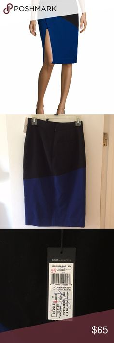 """NEW $214 BCBG Max Azria Color Block Skirt Sz 0 BCBG Max Azria 'Jowell' Color Block Skirt  --  (Sorry no offers please)  Brand new with tags $214  black, blue   Size 0  poly, viscose, spandex - lined.  Waist:  14"""" (front)  Hips:  17"""" (front)  Length:  26.5"""" (front) BCBGMaxAzria Skirts Pencil"""