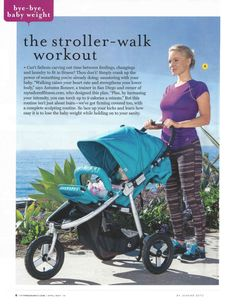 Fit Pregnancy Editorial: The Stroller Walk Workout featuring Indie in Aqua
