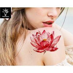 Tattoo Aquarelle, Watercolor Lotus Tattoo, Watercolor Flower, Fake Tattoo Sleeves, Temporary Tattoo Sleeves, Tattoos For Women Half Sleeve, Boho Tattoos, Fake Tattoos, Flower Tattoos