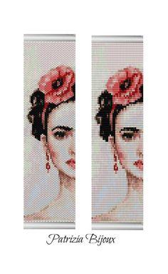 Peyote cuff bracelet pattern Frida Kahlo Odd peyote and loom | Etsy