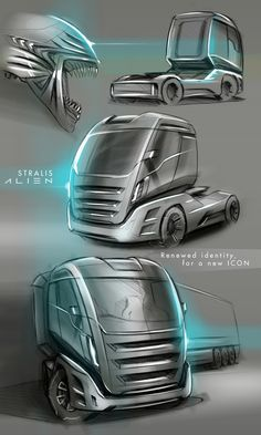 Concept about the new generation of Iveco Stralis Car Design Sketch, Truck Design, Car Brands Logos, Future Trucks, Car Volkswagen, Industrial Design Sketch, Dump Trucks, Futuristic Cars, Car Drawings