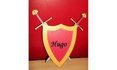 Plaque de porte prénom armure et épées