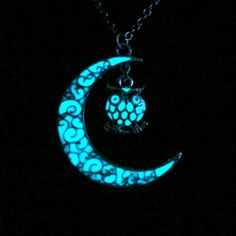 Moon And Owl Necklace Glow In The Dark Moon Owl Jewelry Glowing Owl Necklace Antique Silver (glows aqua blue)