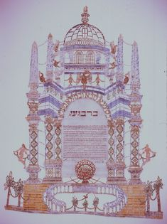 Italian Ketubah, Lugo, Italy 1847 text written within elaborate domed temple