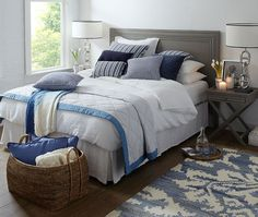 Luxury Bedding Sets On Sale New England Bedroom, New England Decor, New England Style Homes, Blue Bedding, Bedding Sets, Linen Bedding, Hamptons Style Bedrooms, Contemporary Bed Linen, Black Bed Linen